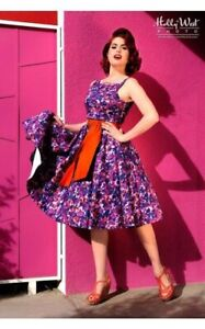 Pinup Couture Pin Up Girl Clothing Maria Purple Floral Dress Med BNWT
