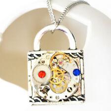 steampunk punk rock gothic lock watch parts necklace pendant men women jewelry
