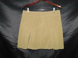 Athleta Size 8 All Terrain Olive Green Skirt A Line Knee Drawstring Zipper Fly