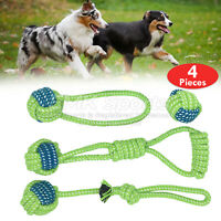 COTTON ROPE TOYS DOG PET DOG PLAYING ROPE BALL ROPE KNOT UK STOCK SETS 4 PIECES