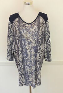 Catherines 2X Ikat Print Top Tunic Sparkle Navy Blue Pull Over