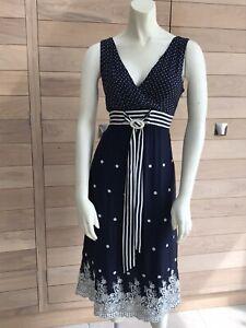 Gorgeous Phase Eight Navy Blue Floral Silk Midi Dress UK 12 EU 40 US 8