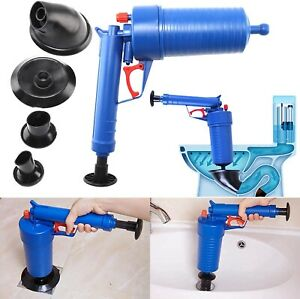 Pressure Toilet Drain Plug Sink Plunger Tool Loo Cleaner with 4 Nozzles