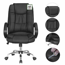 2x Nero inclinazione Sedia ufficio PU cuoio mobili per computer confortevole gambe posteriori