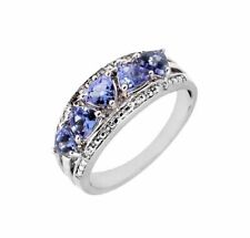 TANZANITE AA+ TRILLION CUT Natural 5 STONES Ring Sterling Silver White Gold Over