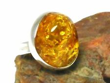 Honey  AMBER  Sterling  Silver  925  Gemstone  RING  -  Size: P  -  Gift Boxed!