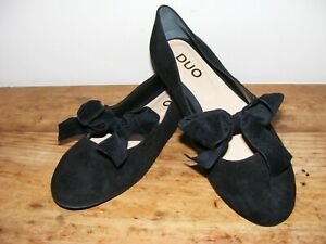 DUO WOMEN'S FLAT SHOES SIZE 42 LOVELY CONDITION BLACK SUEDE WORN ONLY ONCE