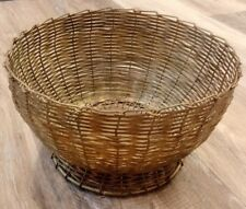 Vintage Large Hand Woven Brass Fruit / Bread Bowl / Basket Made In India