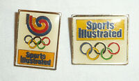 Lot of 2 Sports Illustrated Metal Pins Pinbacks - Olympics Olympic Rings vtg 80s