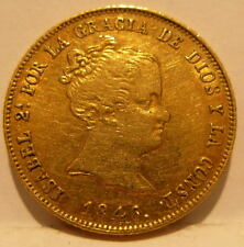 Spain 1846 RD Gold 80 Reales XF - AU Isabel II