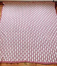 "Queen Size L Afghan Handmade Crocheted Beautiful Pink White Cream Size 96"" x 82"""