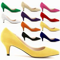 Womens Low Mid Kitten Heels Office Faux Suede Pointed Toe Pumps Shoes US 5.5-9.5