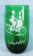Bicycle Built for Two Tumbler Roly Poly Forest Green Anchor Hocking Gay Nineties