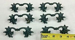 """Vitg French Provincial-style Ornate Drawer Pull Lot of 6 Handles Black  3"""" Bore"""