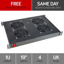 "Linxcom 1U 19"" Rack Mount 4 Way Fan Tray Unit UK Plug - Black Data Cabinet Cool"