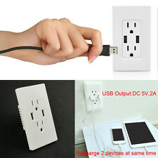 2017 Dual USB Port Electric Wall Charger Dock Socket Power 6 Outlets Panel Plate