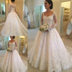 A-line Long Sleeve Lace Wedding Dresses Button Back Beaded Bridal Wedding Gowns