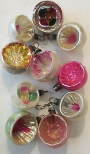 10 VTG Glass Indent Feather Tree Xmas Ornament PInk Green Silver Miniature