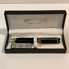 Vintage Pierre Cardin Pen & Mechanical Pencil Set Black w Gold Accents in Box