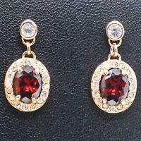 Shinning Red Garnet Dangle Earrings Women Engagement Jewelry Gift 14K Gold