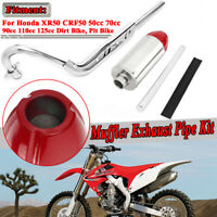 Red Exhaust Down Pipe Muffler For Honda XR50R CRF50F 70cc 110cc 125cc Pit