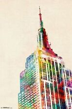 EMPIRE STATE BUILDING - WATERCOLOR ART POSTER - 22x34 NYC NEW YORK CITY 12115