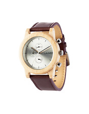 Laimer Wood Watch Mens Chronograph Peter 0058 Made of Maple Leather Wrist Band