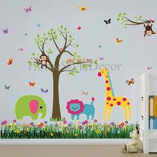 Jungle Safari Zoo Animals Tree Wall Stickers Art Decal Children Kids Room Decor