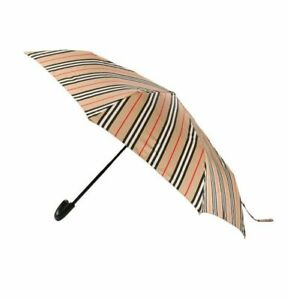 Burberry Mens Trafalgar Vintage Icon Stripe Beige Brown Folding Umbrella