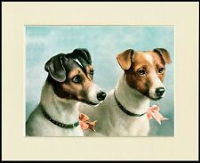 SMOOTH FOX JACK RUSSELL TERRIER TWO DOGS DOG PRINT MOUNTED READY TO FRAME