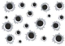 19 Stück Einschusslöcher Bullet Holes Decals Aufkleber  Benzin  Öl  kratzfest