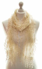 Ladies Lace Scarf Shawl Wrap Occasion Wedding Embroidered Pretty Leaf Leaves