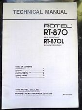 ROTEL TECHNICAL (service) MANUAL for RT-870 & RT-870L  AM/FM & MW/LW/FM Tuner