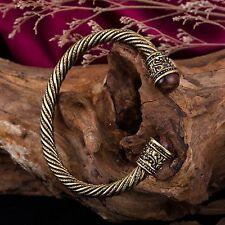 Bead Inset Antique Gold Viking Metal Bracelet Men Cuff Punk Gothic Jewelry Women