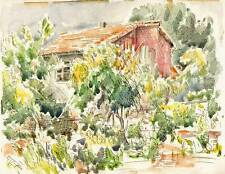 SUNNY GARDEN Watercolour Painting JOHN THIRTLE FRSA c1940