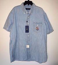 New listing Polo Ralph Lauren Mens Blue Indigo Short Sleeve Shirt Embroidered Usa Flag Xl