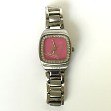 ROXY Stainless Steel Ladies Watch • Pink Face with Crystals • Bracelet Style