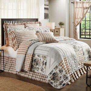 VHC Brands Farmhouse Queen Quilt Brown Annie Floral Cotton Hand Bedroom Decor