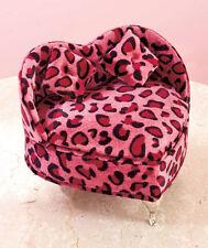 Animal Print Heart Shaped Jewelry Box Storage Organizer Pink Leopard NEW