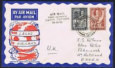 1936 Nigeria Lagos Printed Air Mail First Flight to London - Halstead Essex