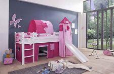 Spielbett Hochbett Kinderbett mit Rutsche + Vorhang + Turm + Weiß Princess  NEU