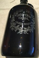 Christmas Carol Growler Glass 32 Oz Bottle Jug New .Scratched Screw On Top