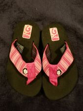 Girls Pink Multi-Colored Teva Flip Flops SIZE 8