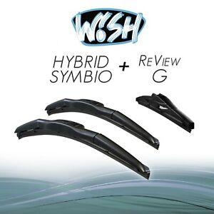 """Wish® Hybrid Symbio + ReView G 16"""" / 16"""" / 11"""" Front + Heck Scheibenwischer"""
