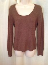 Cashmere Tweeds Brown Thin Sweater Size L/XL Long Sleeves Beaded Knitting