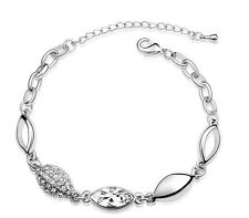 Elegant Bridal White Water Drop and Silver Crystal Bracelet BB54W