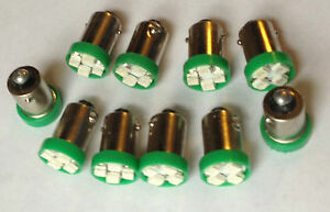 10 Chevy BRIGHT Green 12V LED Instrument Panel BA9S 1815 Light Bulb 1895 NOS