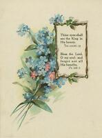 ANTIQUE BLUE PINK FORGET ME NOTS FLOWER BIBLICAL VERSE POETRY COLOR CHROMO PRINT