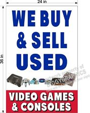 2' X 3'  PAPER BANNER WE BUY & SELL USED VIDEO GAMES VERTICAL  NEW!!