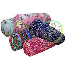 AL Elephant Eiffel Tower Geometric Cotton Canvas Yoga Case Bolster Cushion Cover